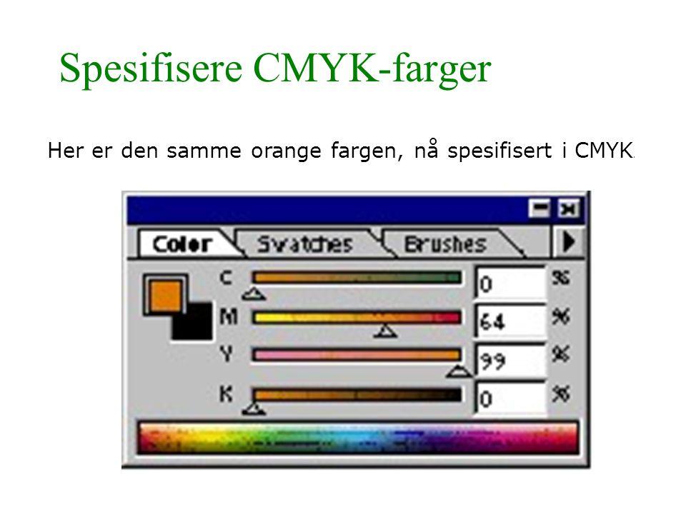 Spesifisere CMYK-farger