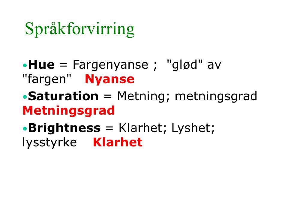 Språkforvirring Hue = Fargenyanse ; glød av fargen Nyanse