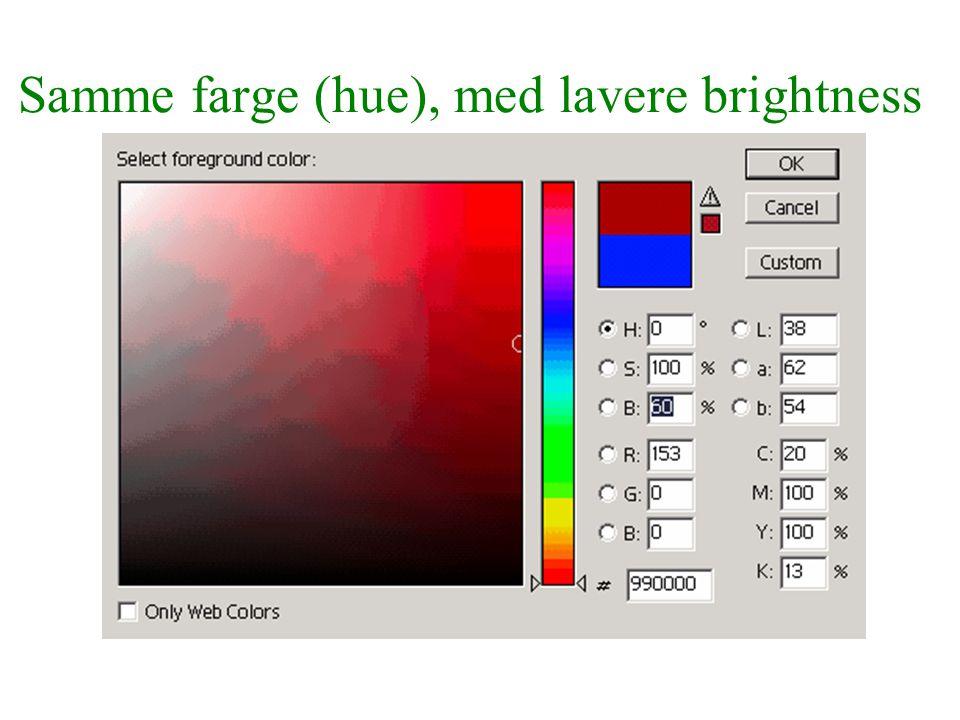 Samme farge (hue), med lavere brightness