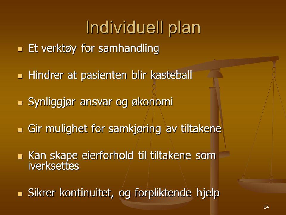 Individuell plan Et verktøy for samhandling