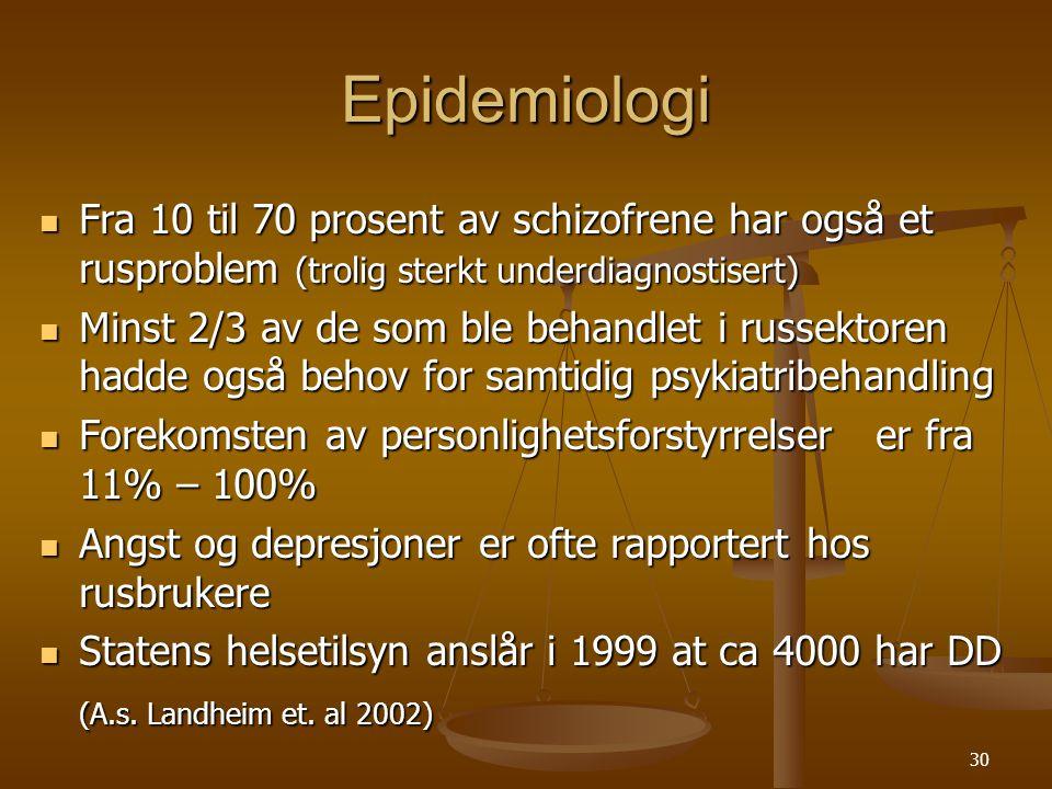 Epidemiologi Fra 10 til 70 prosent av schizofrene har også et rusproblem (trolig sterkt underdiagnostisert)