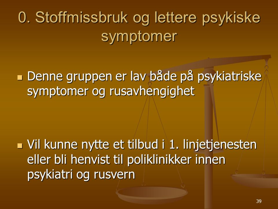0. Stoffmissbruk og lettere psykiske symptomer