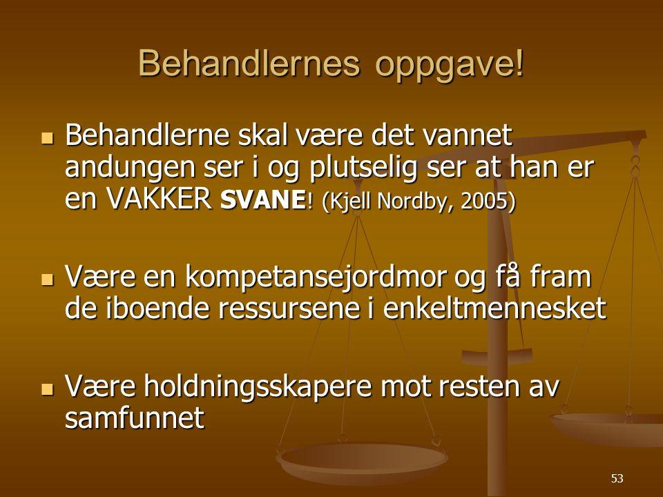 Behandlernes oppgave! Behandlerne skal være det vannet andungen ser i og plutselig ser at han er en VAKKER SVANE! (Kjell Nordby, 2005)