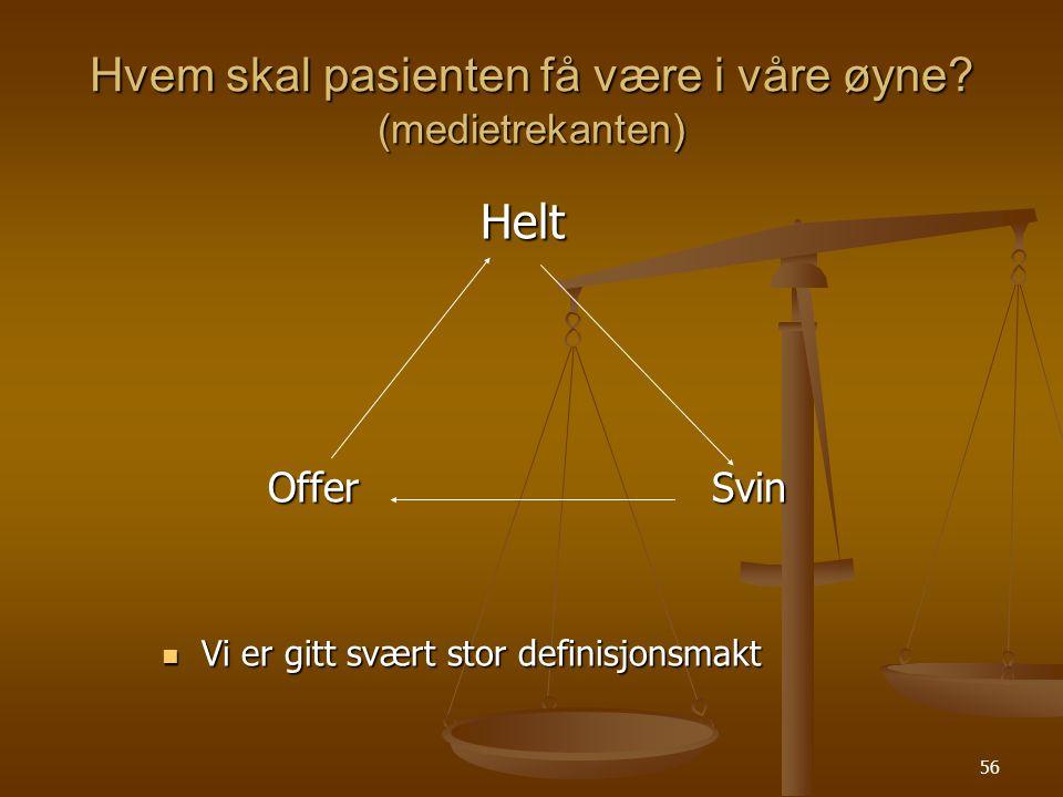 Hvem skal pasienten få være i våre øyne (medietrekanten)