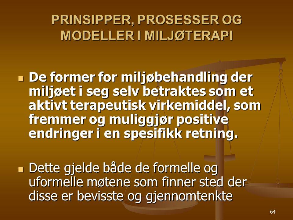 PRINSIPPER, PROSESSER OG MODELLER I MILJØTERAPI