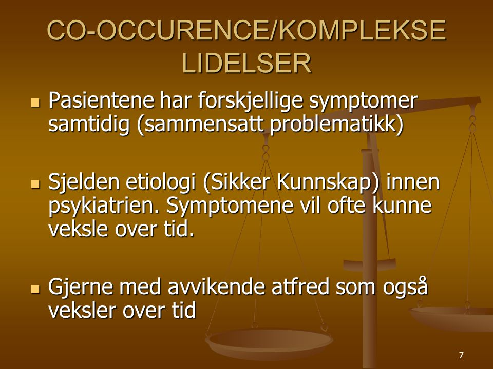 CO-OCCURENCE/KOMPLEKSE LIDELSER