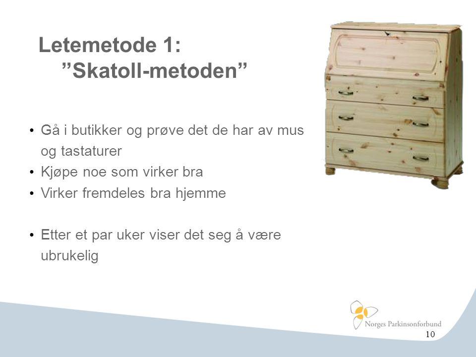 Letemetode 1: Skatoll-metoden