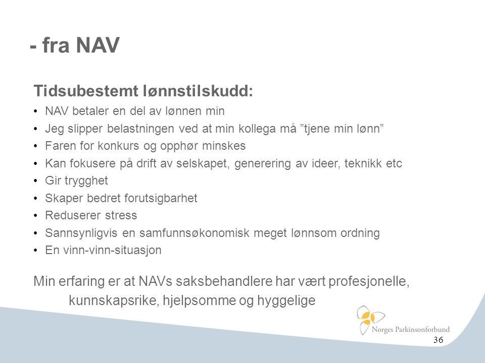 - fra NAV Tidsubestemt lønnstilskudd: