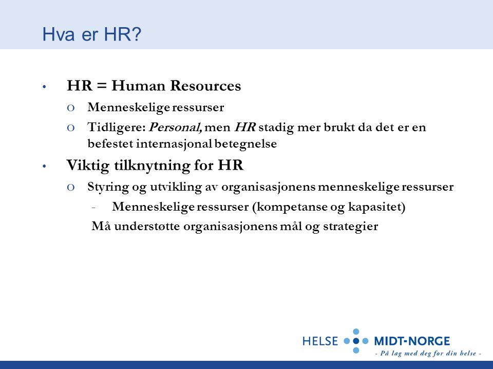 Hva er HR HR = Human Resources Viktig tilknytning for HR