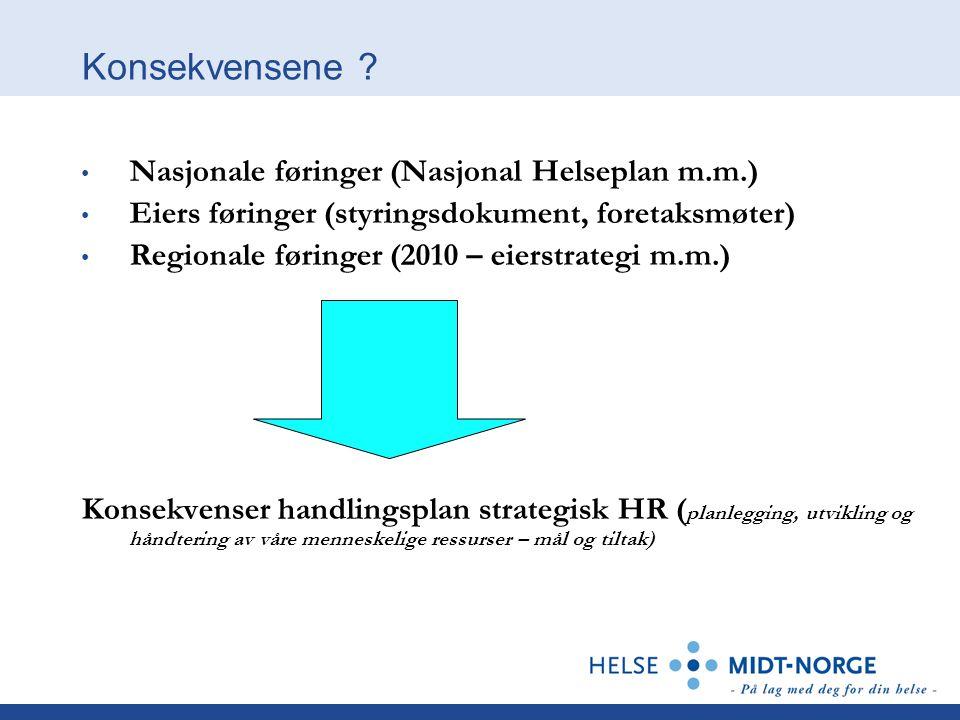 Konsekvensene Nasjonale føringer (Nasjonal Helseplan m.m.)
