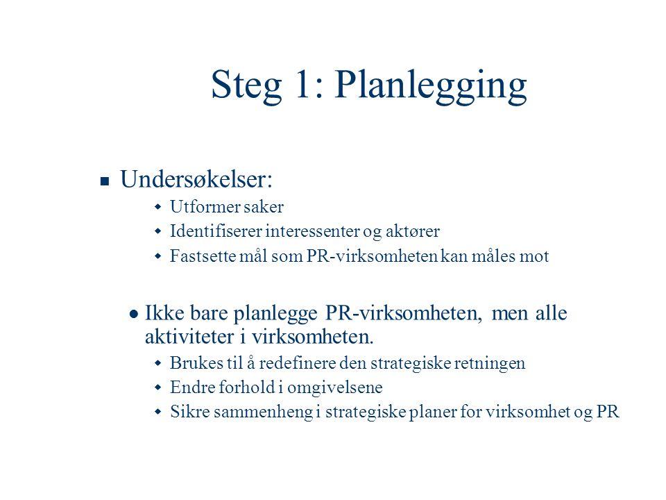 Steg 1: Planlegging Undersøkelser:
