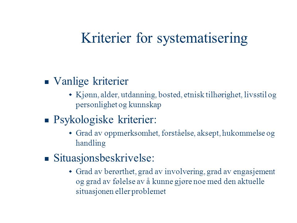 Kriterier for systematisering