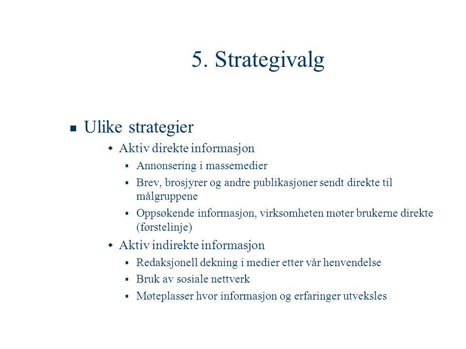 5. Strategivalg Ulike strategier Aktiv direkte informasjon