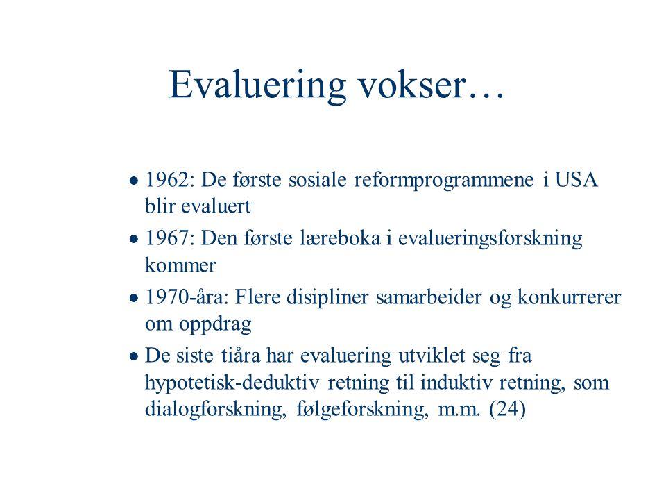Evaluering vokser… 1962: De første sosiale reformprogrammene i USA blir evaluert. 1967: Den første læreboka i evalueringsforskning kommer.