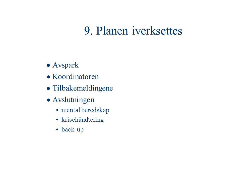 9. Planen iverksettes Avspark Koordinatoren Tilbakemeldingene