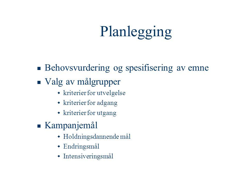 Planlegging Behovsvurdering og spesifisering av emne