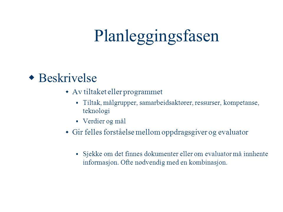 Planleggingsfasen Beskrivelse Av tiltaket eller programmet