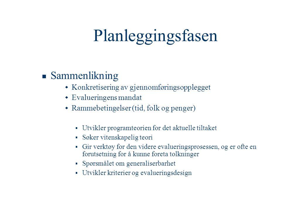 Planleggingsfasen Sammenlikning
