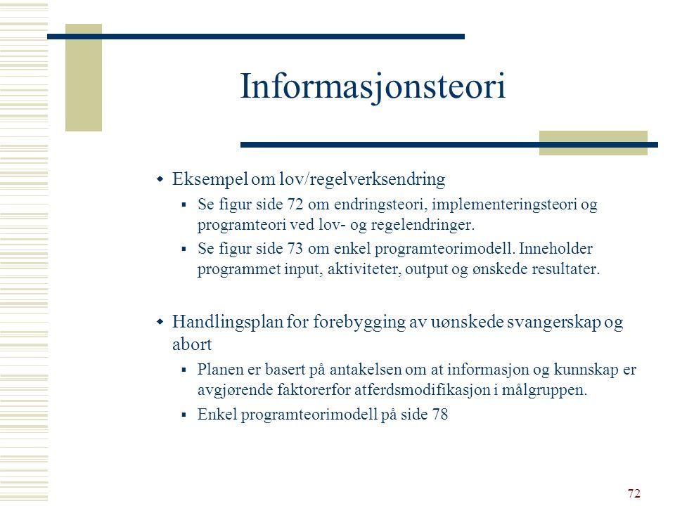 Informasjonsteori Eksempel om lov/regelverksendring