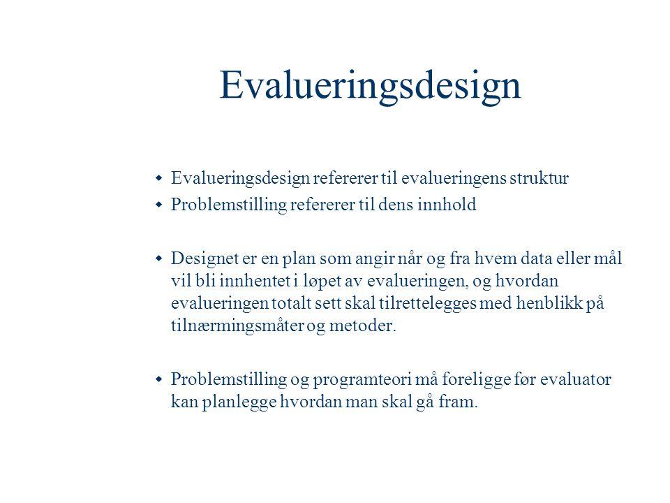 Evalueringsdesign Evalueringsdesign refererer til evalueringens struktur. Problemstilling refererer til dens innhold.