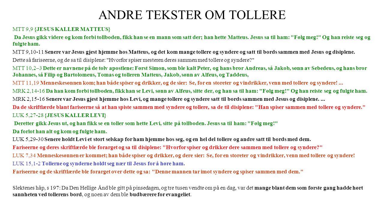 ANDRE TEKSTER OM TOLLERE
