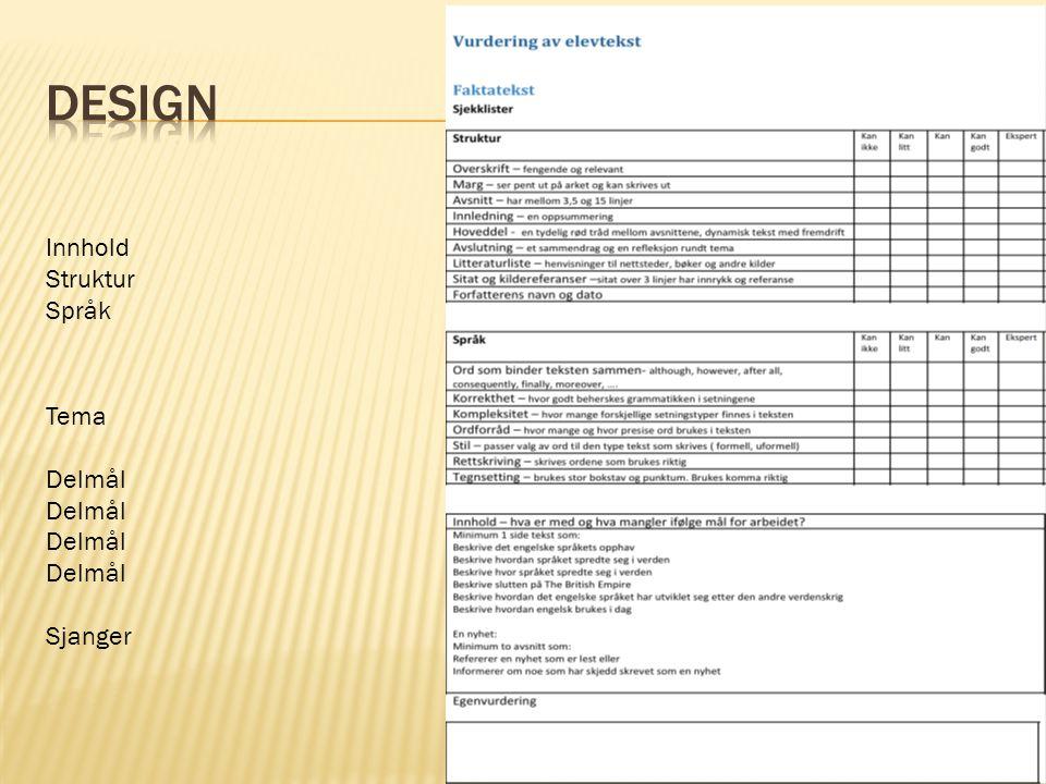 Design Innhold Struktur Språk Tema Delmål Sjanger