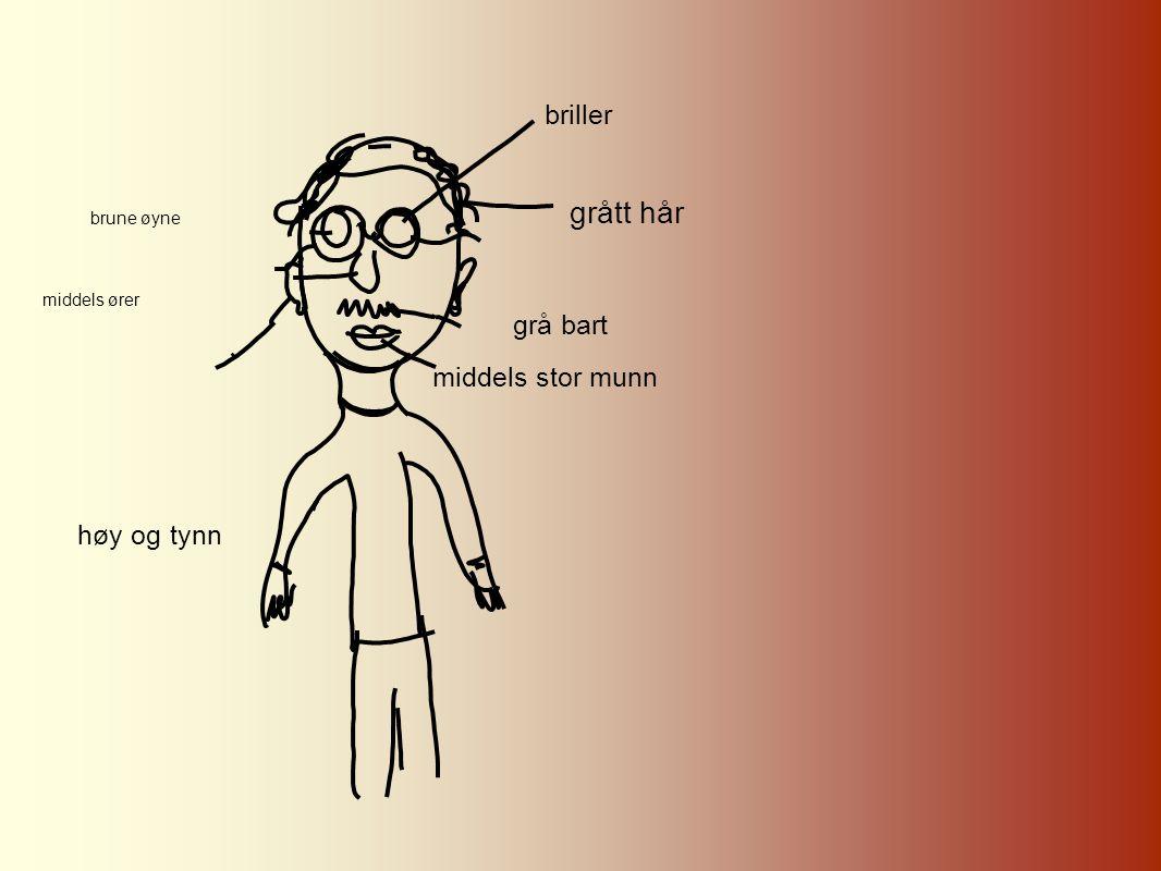 grått hår briller grå bart middels stor munn høy og tynn brune øyne