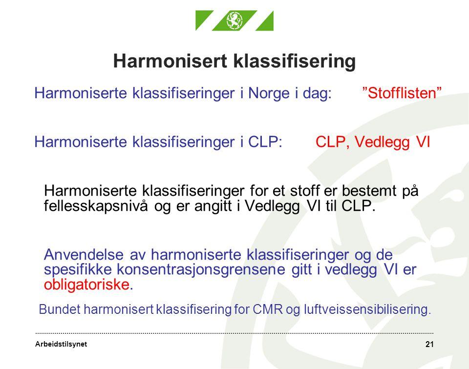 Harmonisert klassifisering