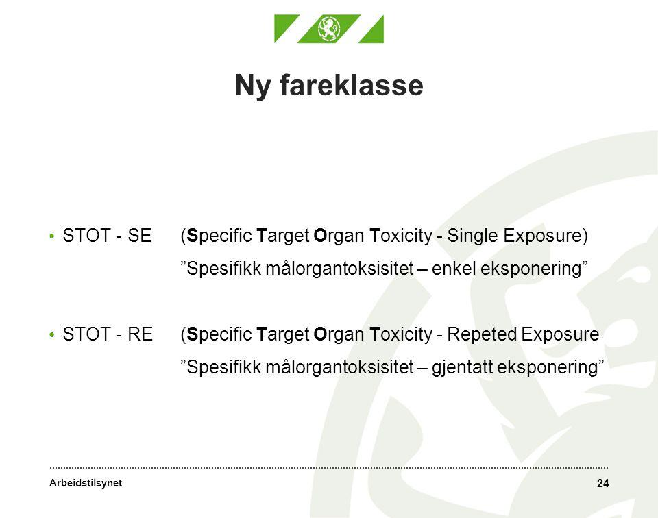 Ny fareklasse STOT - SE (Specific Target Organ Toxicity - Single Exposure) Spesifikk målorgantoksisitet – enkel eksponering