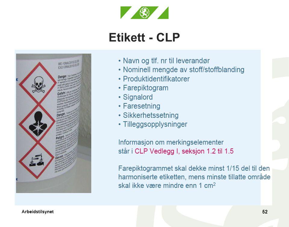Etikett - CLP Merkeforskriften: Dekke minst 1/10 (større enn i CLP)