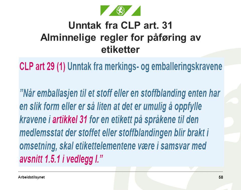 Unntak fra CLP art. 31 Alminnelige regler for påføring av etiketter