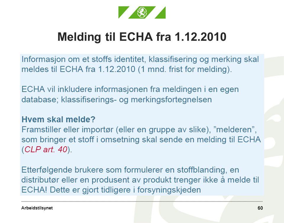 Melding til ECHA fra 1.12.2010