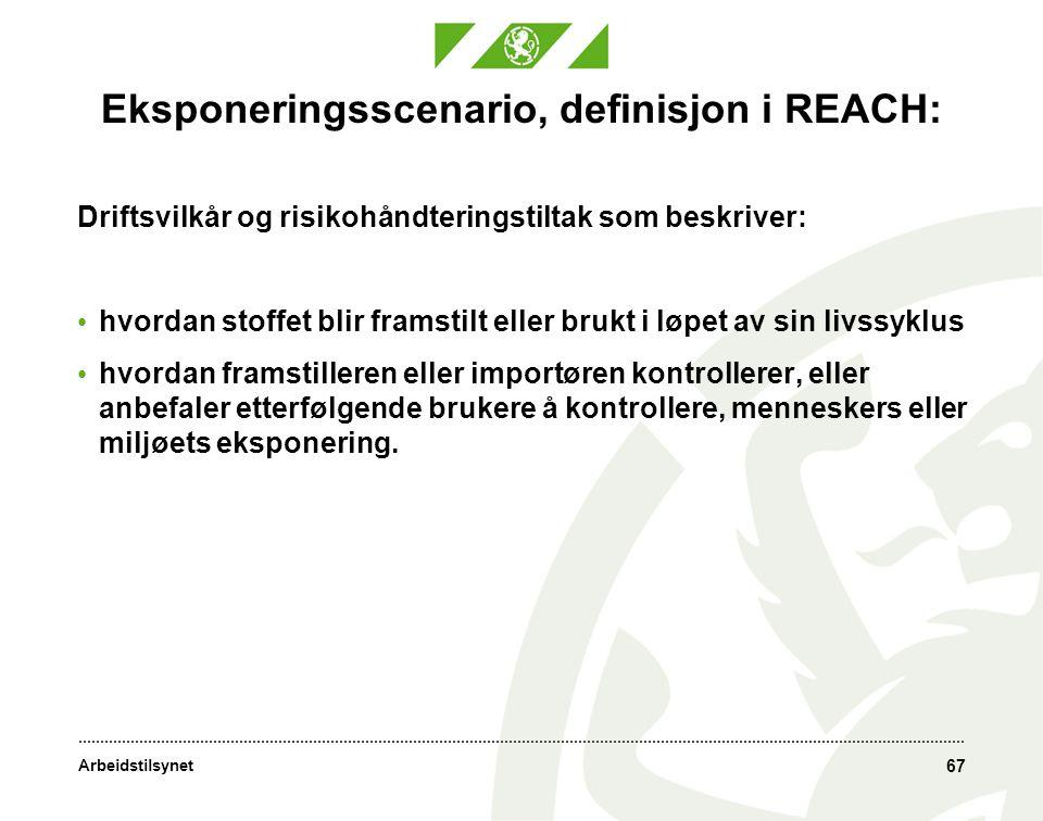 Eksponeringsscenario, definisjon i REACH: