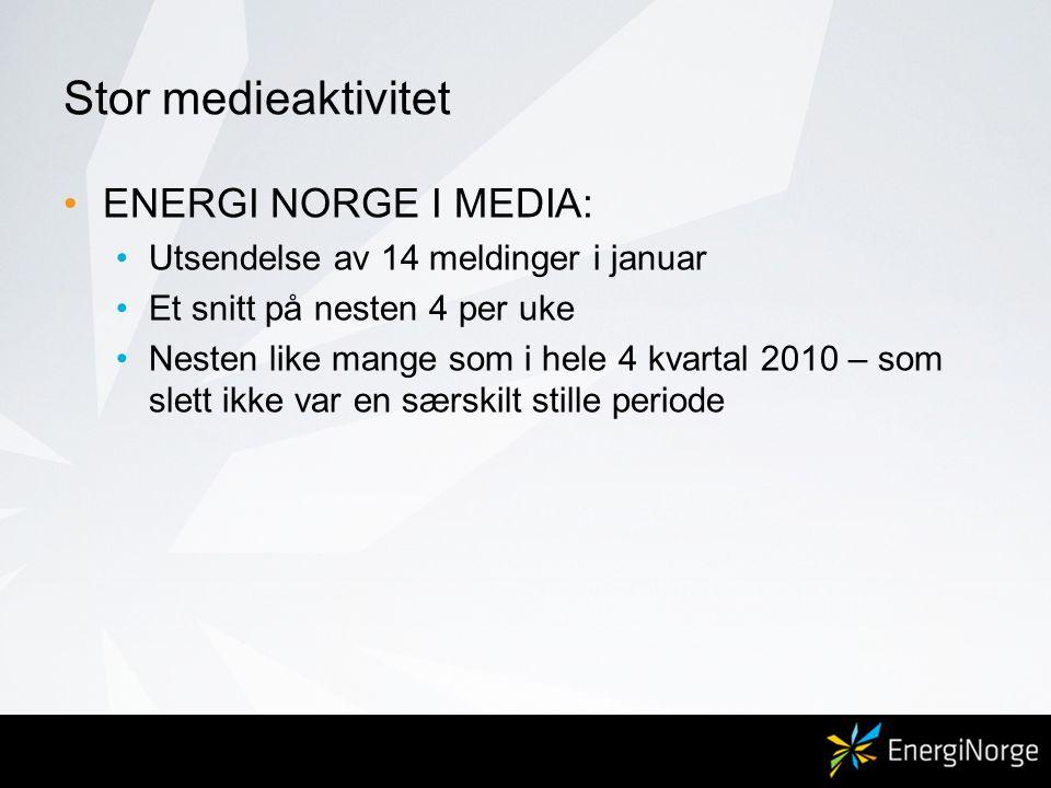 Stor medieaktivitet ENERGI NORGE I MEDIA: