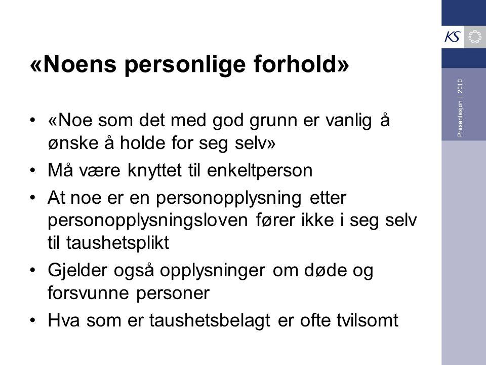 «Noens personlige forhold»