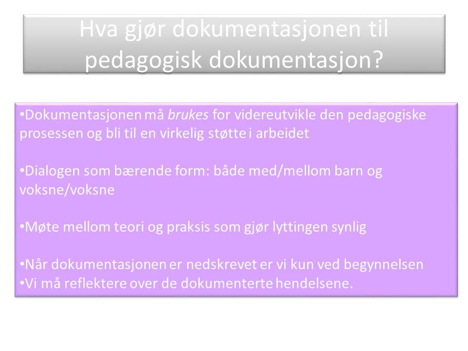 Hva gjør dokumentasjonen til pedagogisk dokumentasjon