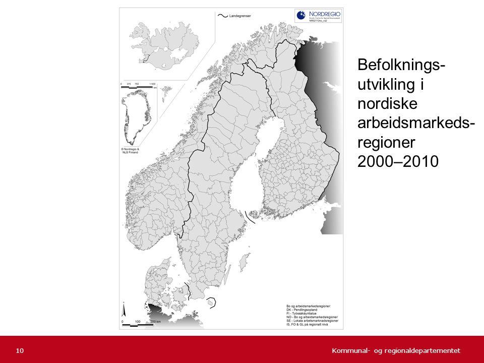 Befolknings-utvikling i nordiske arbeidsmarkeds-regioner