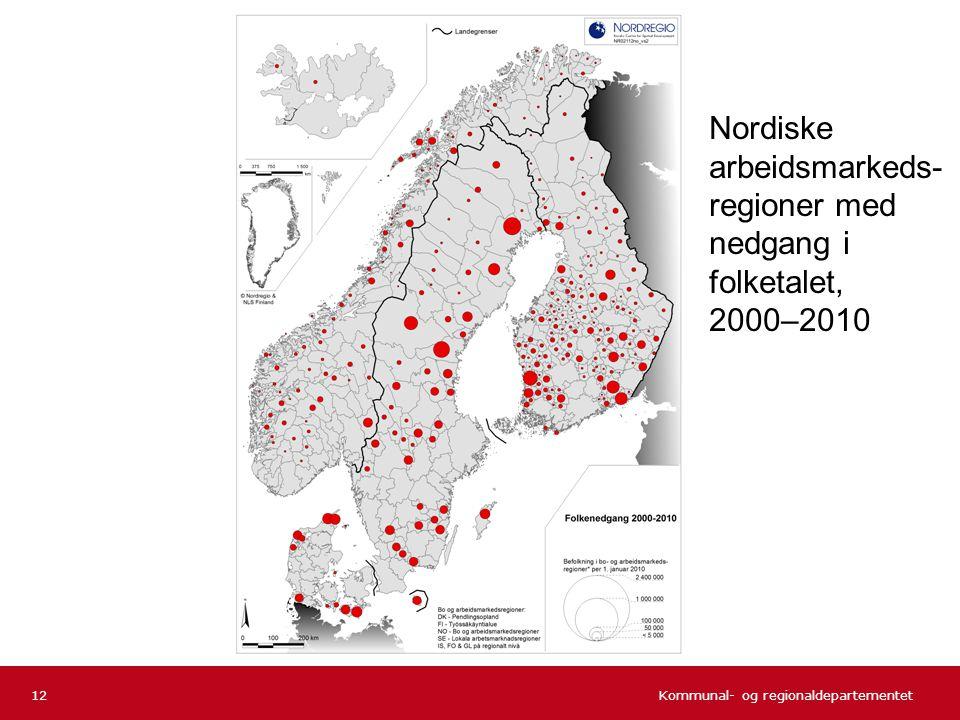 Nordiske arbeidsmarkeds-regioner med nedgang i folketalet,
