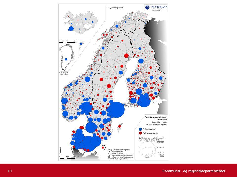 Noe bedre spredning av blå, positive prikker i Norge