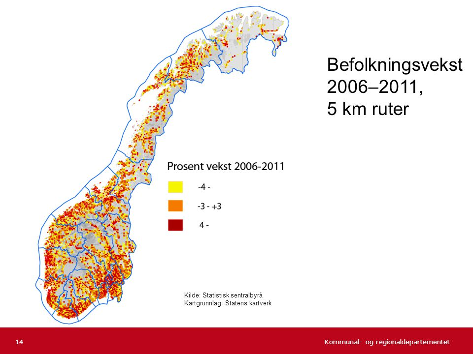 Befolkningsvekst 2006–2011, 5 km ruter