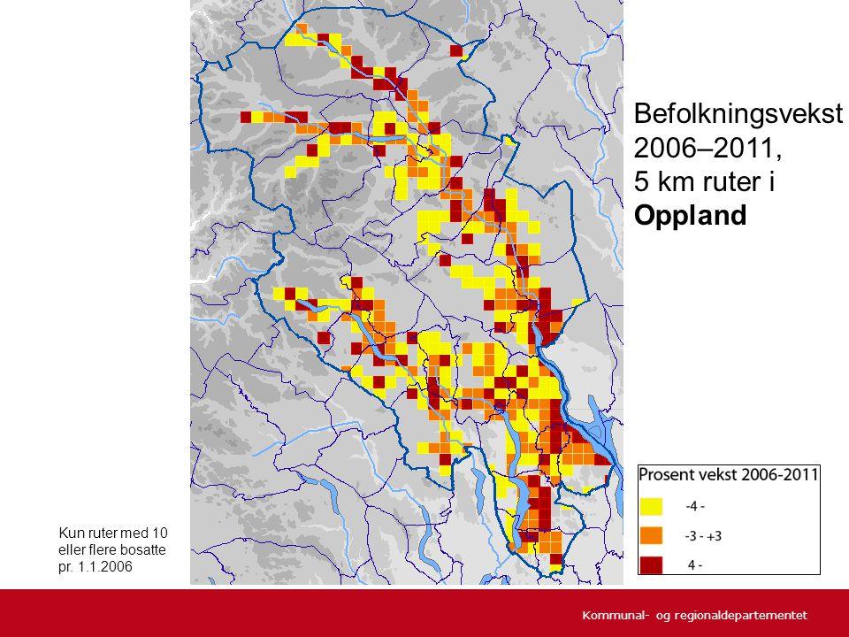 Befolkningsvekst 2006–2011, 5 km ruter i Oppland