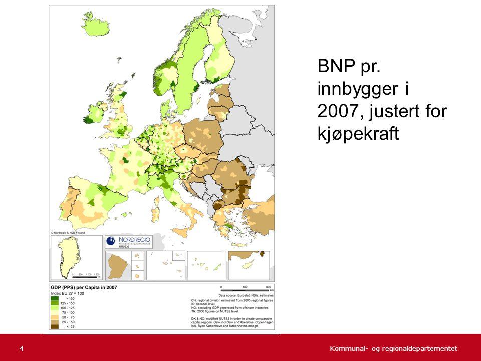 BNP pr. innbygger i 2007, justert for kjøpekraft
