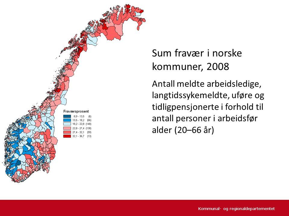 Sum fravær i norske kommuner, 2008