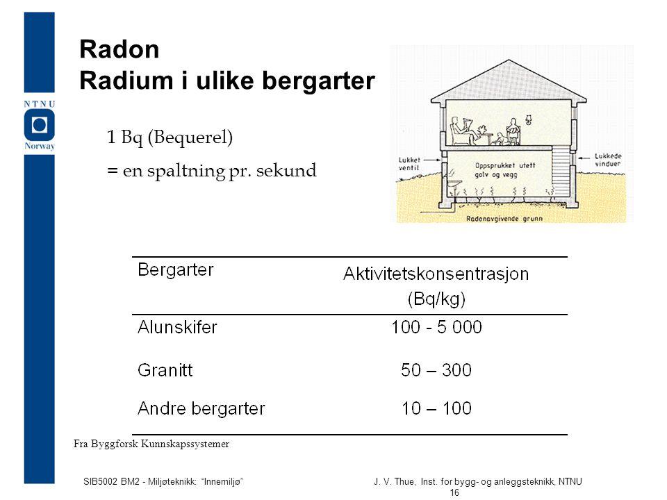 Radon Radium i ulike bergarter