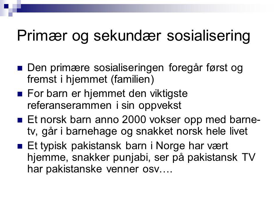Primær og sekundær sosialisering