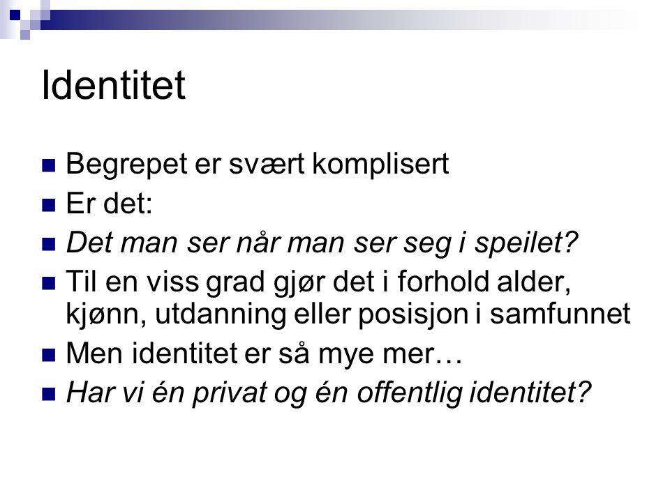 Identitet Begrepet er svært komplisert Er det: