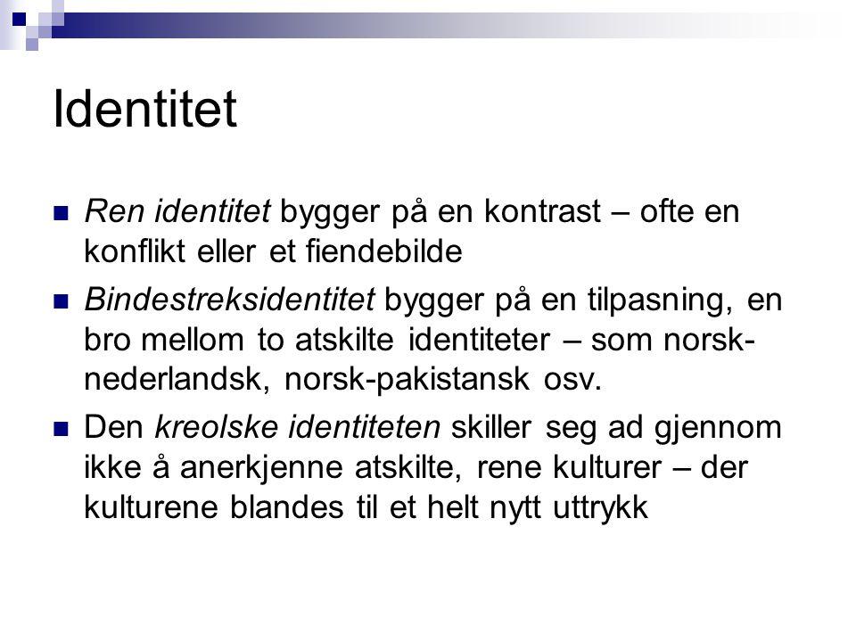 Identitet Ren identitet bygger på en kontrast – ofte en konflikt eller et fiendebilde.
