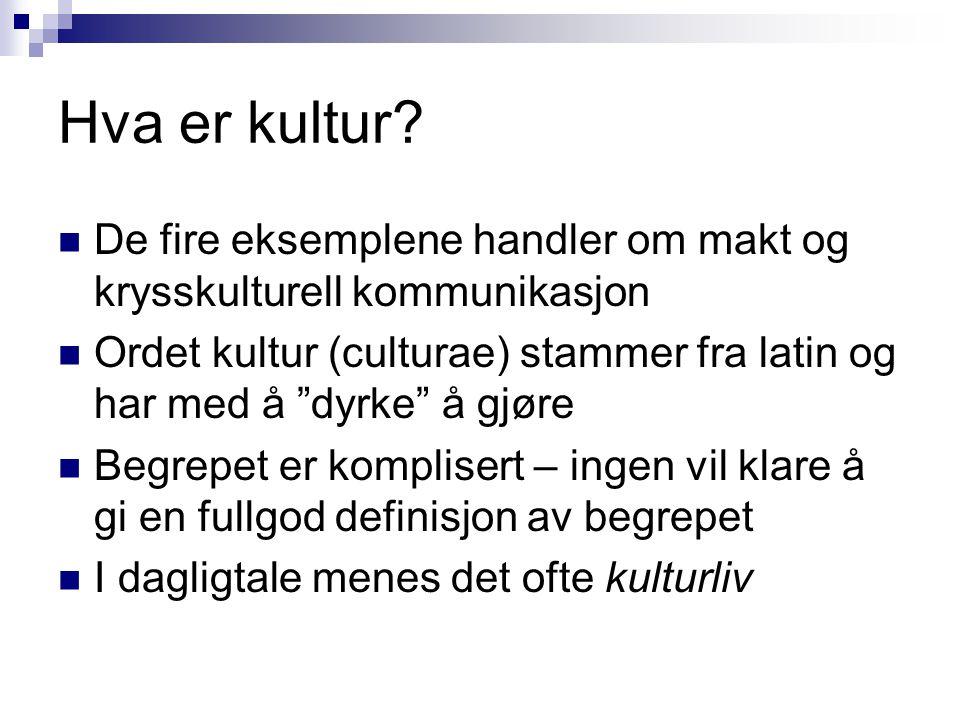 Hva er kultur De fire eksemplene handler om makt og krysskulturell kommunikasjon.