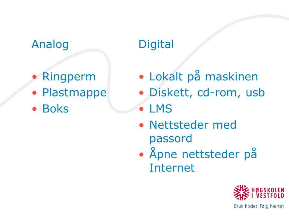 Analog Ringperm. Plastmappe. Boks. Digital. Lokalt på maskinen. Diskett, cd-rom, usb. LMS. Nettsteder med passord.