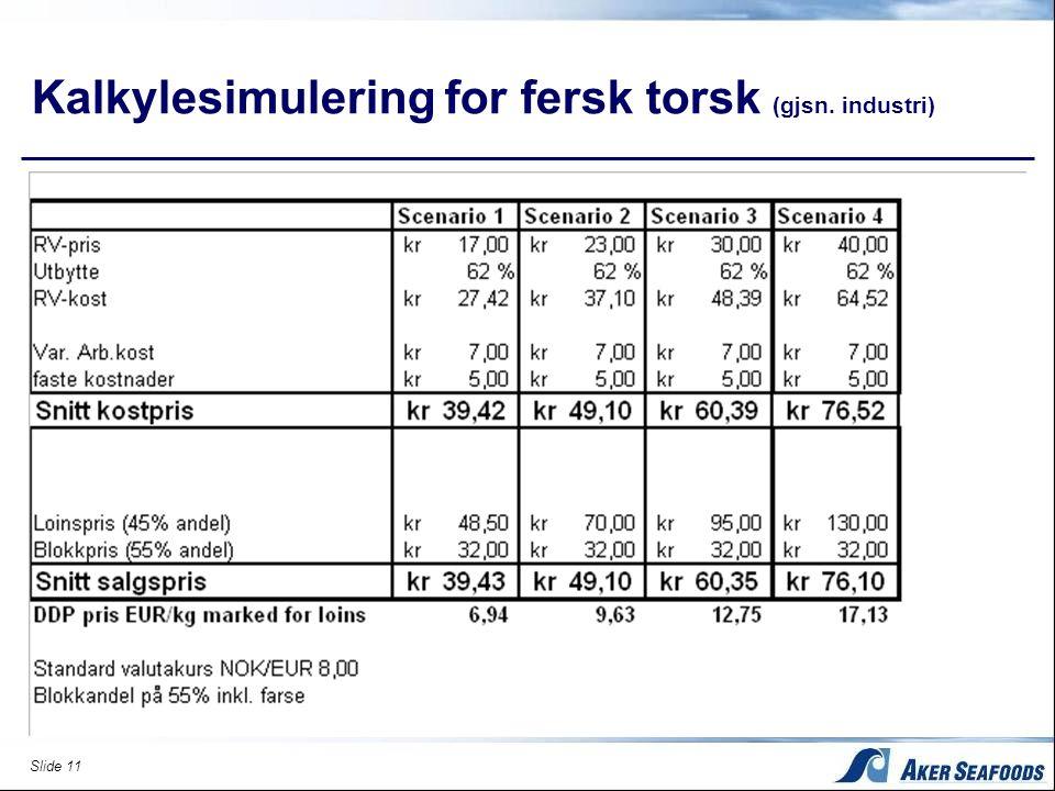 Kalkylesimulering for fersk torsk (gjsn. industri)